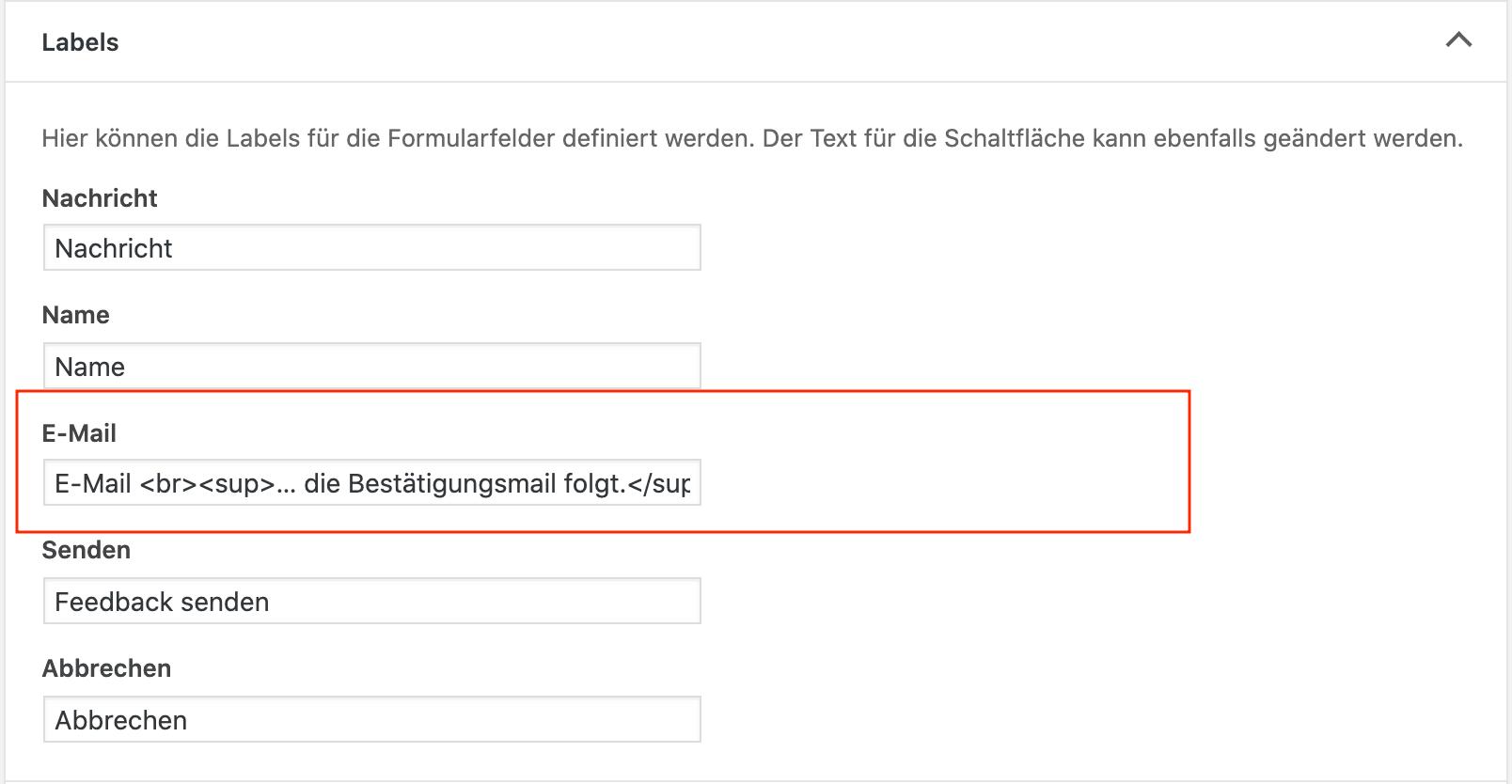 Helpful. Menü Feedback Zeile Labels